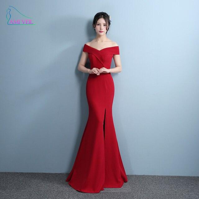 7e1f4b6531f Русалка Дизайнерские Вечерние платья с разрезом сбоку красное платье  пикантные Длинные вечерние платья V шеи Imported