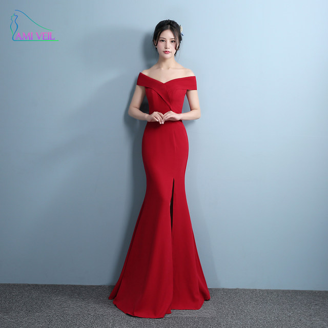 Online Shop Mermaid Designer Evening Gowns Side Split Red Prom Dress ...