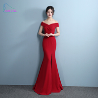 Mermaid Designer Evening Gowns Side Split Red Prom Dress Sexy Long Evening Dresses V Neck Imported