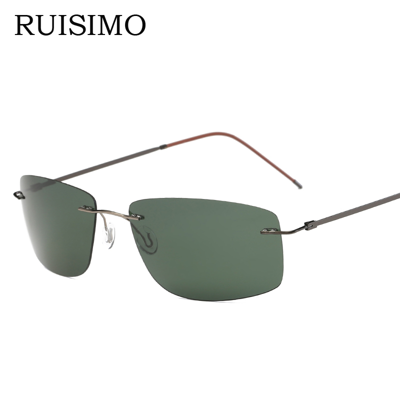 With case Polarized Titanium Silhouette sunglasses Square Polaroid Brand Designer Gafas Men round Sun glasses sunglasses for men