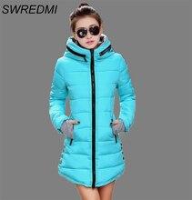 Длины средней зимняя дамы куртка повседневная женская тонкий пальто хлопок плюс