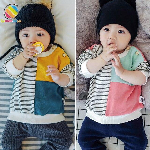Lemonmiyu Cotton Bé Mùa Thu Áo Nỉ cho chàng trai Trẻ Sơ Sinh Quan Hệ Nhân Quả Toddler Trẻ Em Tops O-Cổ Dài Tay Áo Bé 0-3 T thời trang T-Shirts