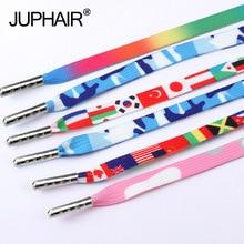 1 Pair  Lace Printing Rainbow Flat Gradient Sport Canvas Shoe Colorful Rice Laces Color Shoelaces High-grade Metal Head