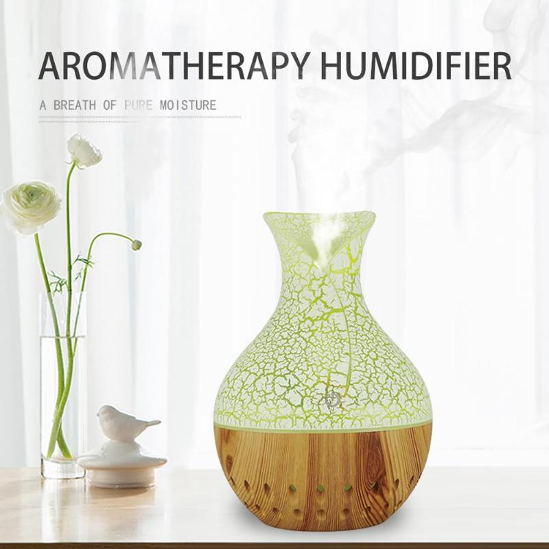 Humidifier Air Purifier With 7 Color Night Light 130ml Wood Grain Humidifier Air Conditioning Appliances