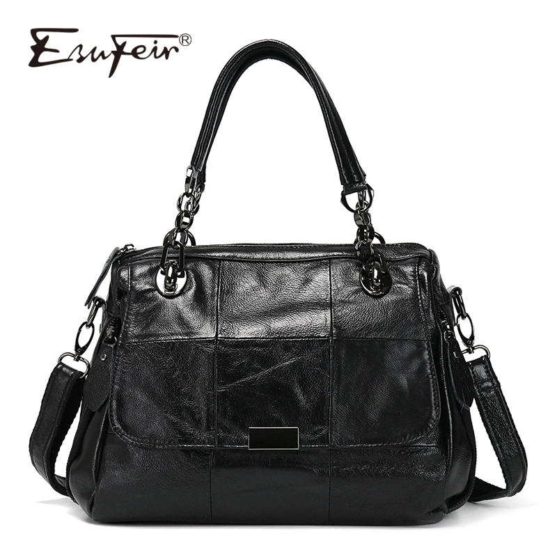 ESUFEIR Luxury Women Handbag Patchwork Genuine Leather Bags for Women Shoulder Messenger Bag Ladies Crossbody Bag Designer Tote new luxury large capacity women handbag designer ladies purses shoulder crossbody tote bag women messenger bags bolsa feminine