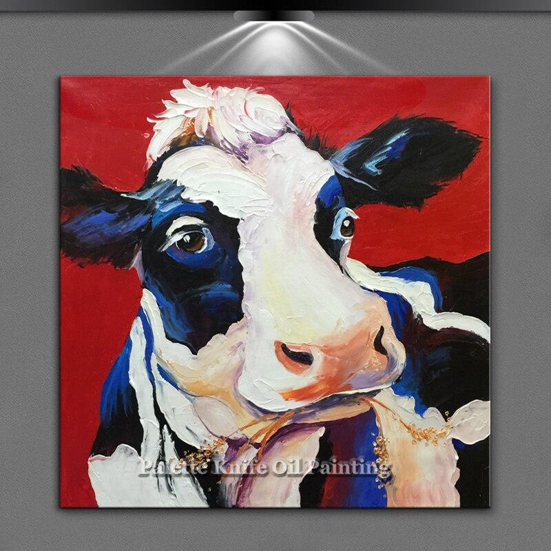 Art Animal peintures à l'huile pour salon art mural photos toile vache acrylique texture lourde peinture quadros caudros decoracion