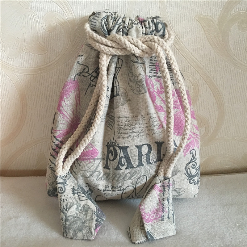 YILE Cotton Linen Drawstring Multi-purpose Organizer Bag Cosmetic Phone Bag Flower Butterfly Paris Tower