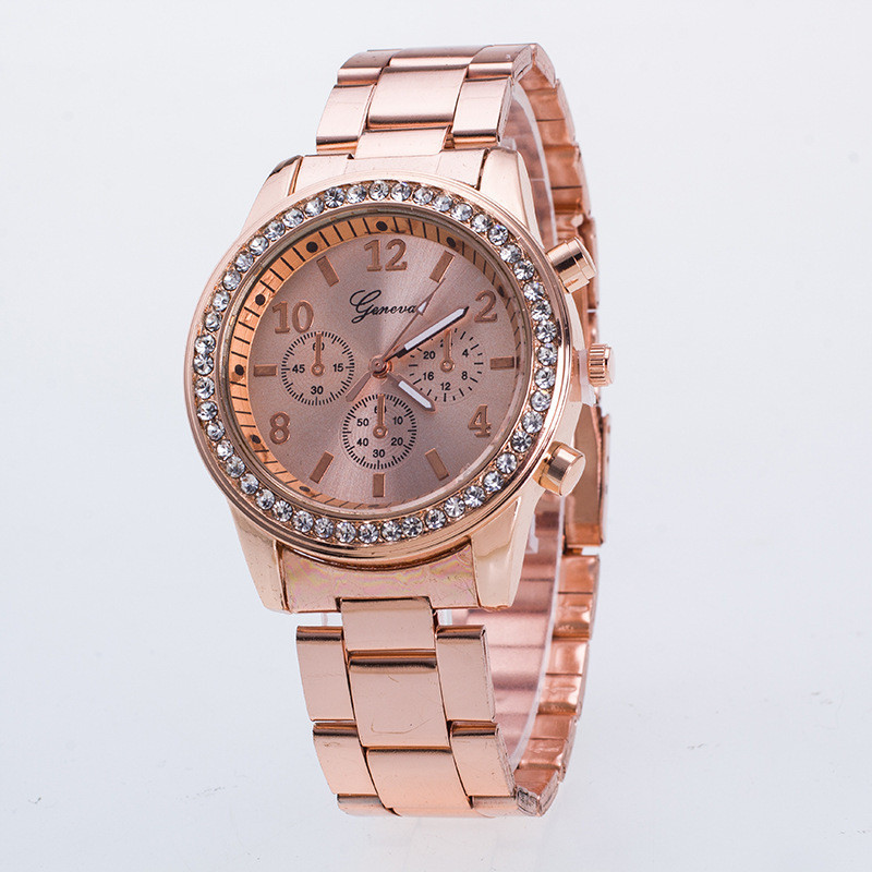 bf6f21014 Lovesky 2018New Fashion Faux Chronograph Plated Classic Geneva Quartz  Ladies Watch Women Crystals Wristwatches Relogio Feminino-in Women's Watches  from ...