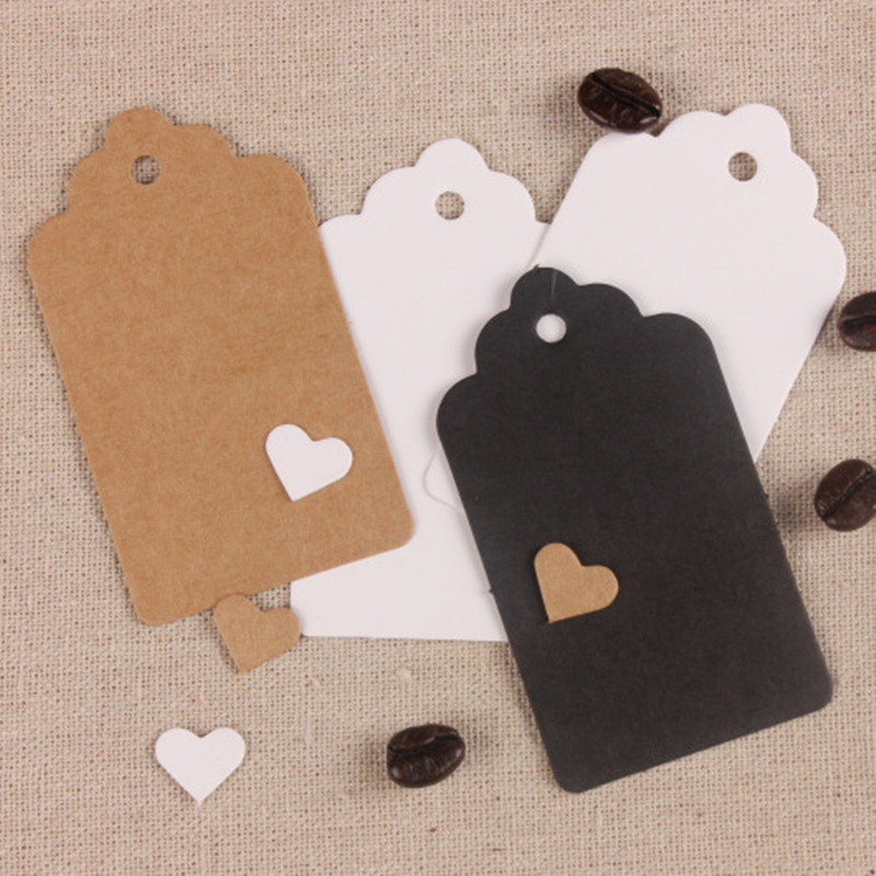 100pcs/set 9x4cm Kraft Paper Tags Brown White lace Love rectangle Favor Lolly Heart Hollow Wedding Party Gift Bag Name Label Tag
