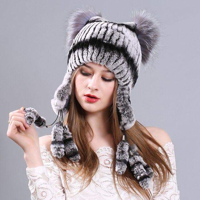 Sombrero caliente Del Invierno Para Las Mujeres 2017 de Lana de Punto Para  Mujer Orejas de 573ec07aa0c1