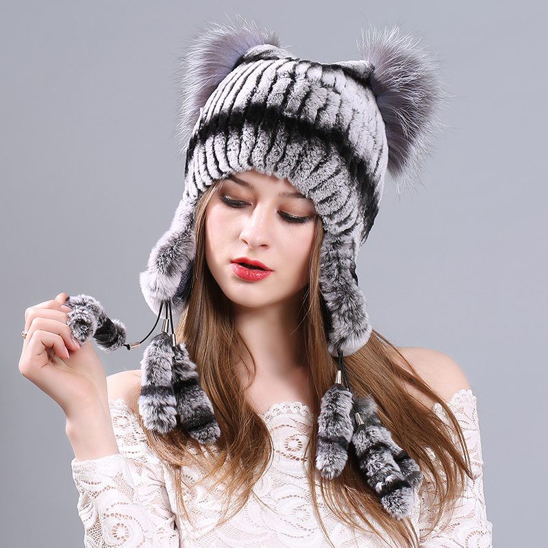 Warm Winter Hat For Women 2017 Wool Knitted Womens Cat Ears Faux Rabbit Hats Skullies Fur Pompom Caps Female Beanies Bonnet Femm velvet thick keep warm winter hat for women rabbit fur knitted beanies ladies female fashion skullies elegant hats for women