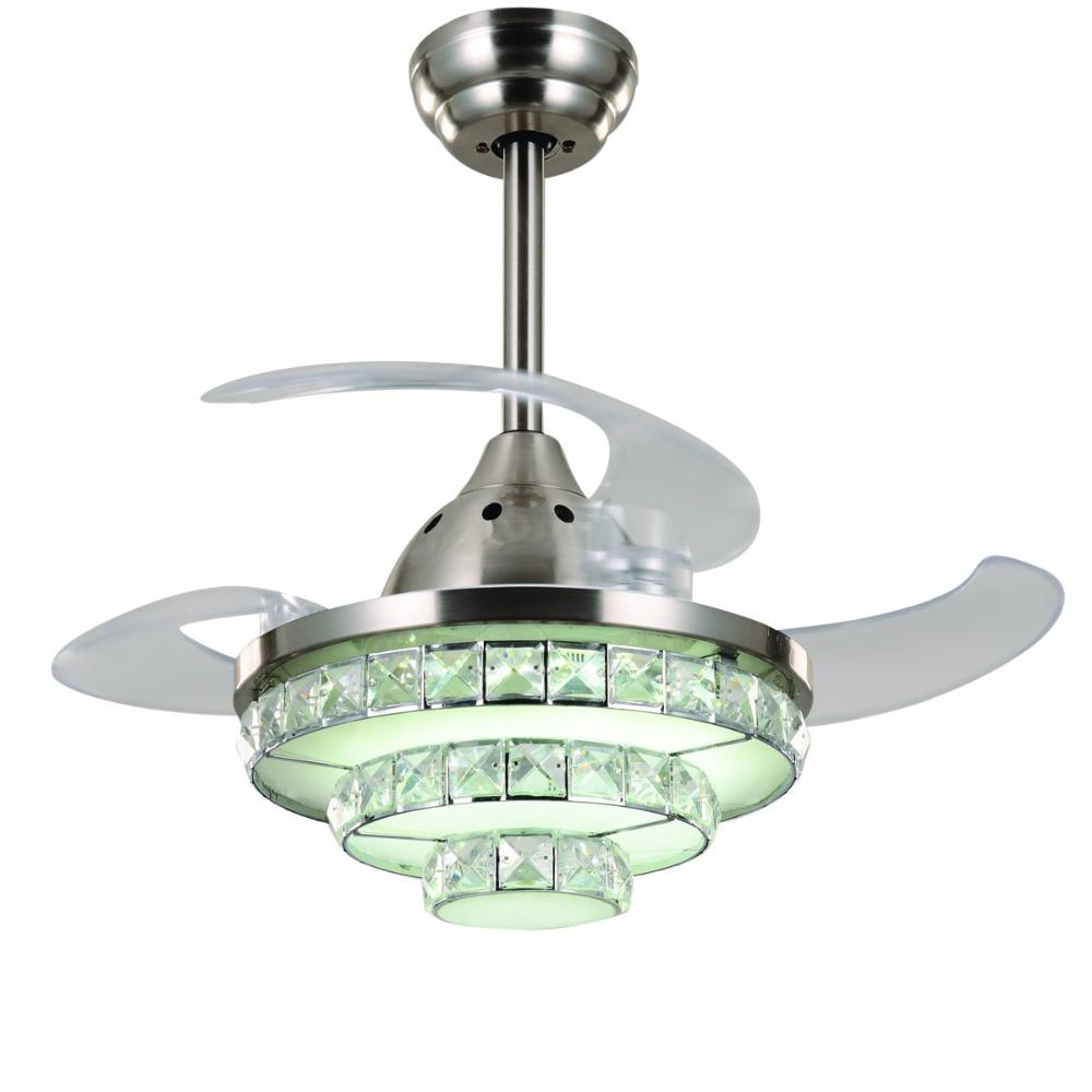 Lights & Lighting Crystal Ceiling Fan Led Ceiling Fan Lamp 32inch 3 Leaf With 2 Size Rod For Livingroom Bedroom Dinning Room