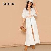 187da706be57 SHEIN Casual Drop Shoulder Knot Lace Insert White Kimono 2019 Spring Half  Sleeve Sheer Bohemian Vacation