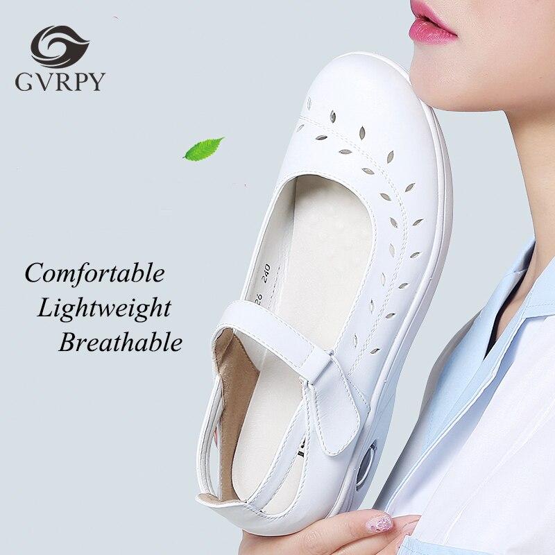 Air Cushion Nurse Shoes Wedge Flat Soft Bottom Hollow Breathable Non-slip Korean Hospital Beauty Salon Medical Shoes Ladies
