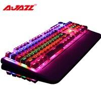 Ajazz AK35 107 ergonômico chave mecânica rainbow liga placa de interface USB com fio de jogo teclado retroiluminado com braço de sucção tipo de mão