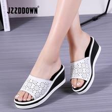купить JZZDDOWN Women Leather Shoes Slip on Beach Sandals Slippers Ladies Cork Wedge Sandals Female Platform Sandals Shoes Woman Summer дешево