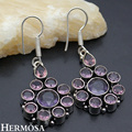 HERMOSA jewelry Sweet Dating best gift Flower  amethyst  925 sterling silver exquisite earrings HF979