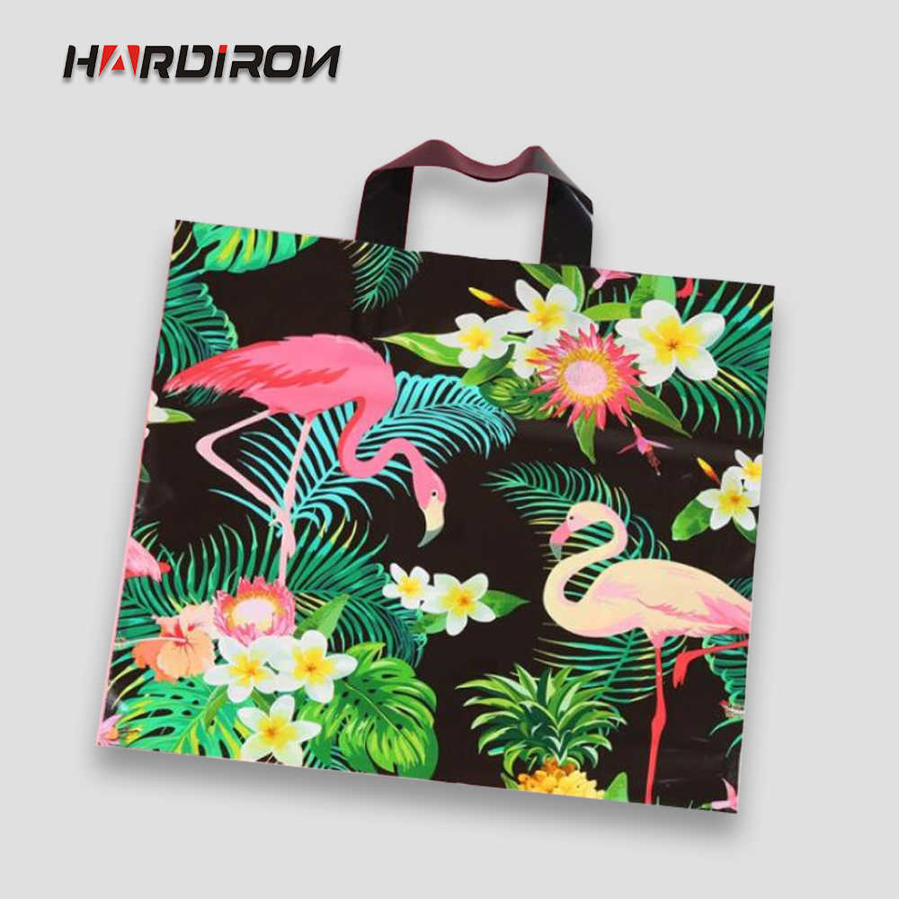 HARDIRON Fashion Printing Sack Plastic Clothes Bag Plastic Printed Gift Pouch Clothing Store Packet Shopping Bags with Handle