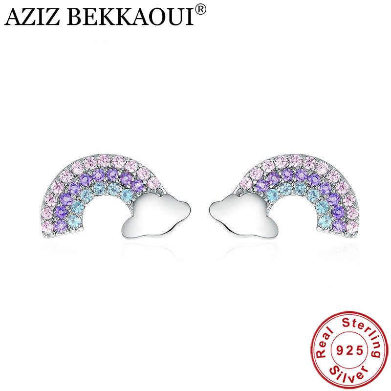 AZIZ BEKKAOUI Authentic 925 Sterling Silver Limpar CZ Colorful Rainbow Brincos para Mulheres Partido Jóias Brincos Da Orelha