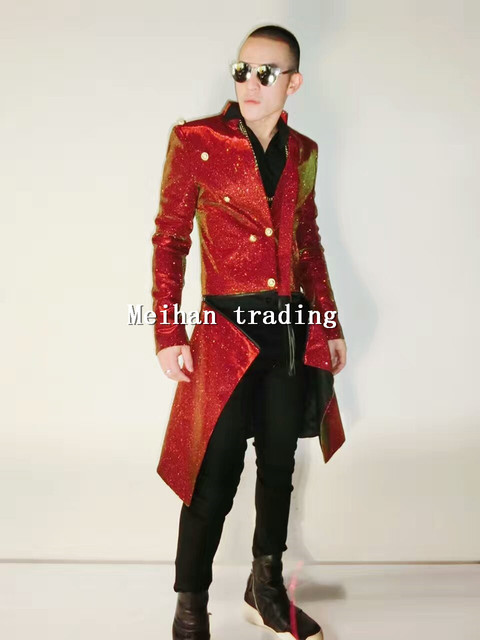 833b6992ba Men s Fashion Shining Jacket S-4XL Long Style Sequins Costume Jacket Long Design  Coat Singer Dance Stage Wear Outerwear