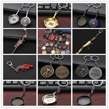 Jedi Survival Escape Kill Eat Chicken Game Surrounding Weapons Model 98K Sniper Rifle Metal Pan Key Chain Pendant PUBG Gift image