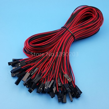 50Pcs 2Pin Female To Female Pitch 2.54mm 70cm Dupont Jumper Wire Connector 26AWG For 3D Printer