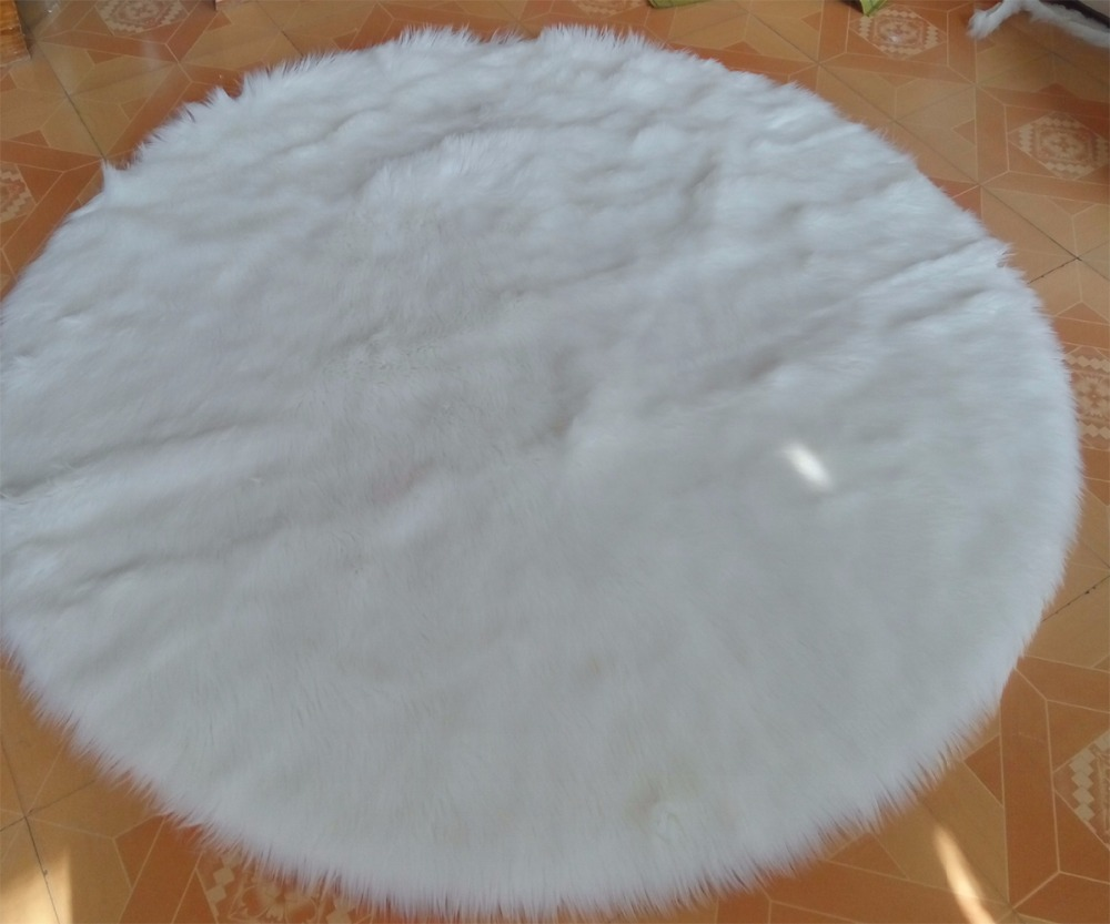 Round real white faux sheepskin rug fur blanket decorative for Round carpets and rugs