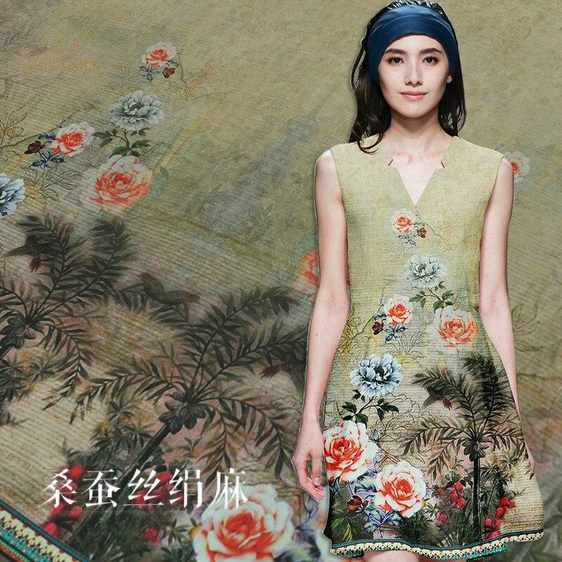 130 cm de large tissu de lin de soie 35mm rose bloom imprimé soie soie soie mélange de lin tissu de soie matériel rétro