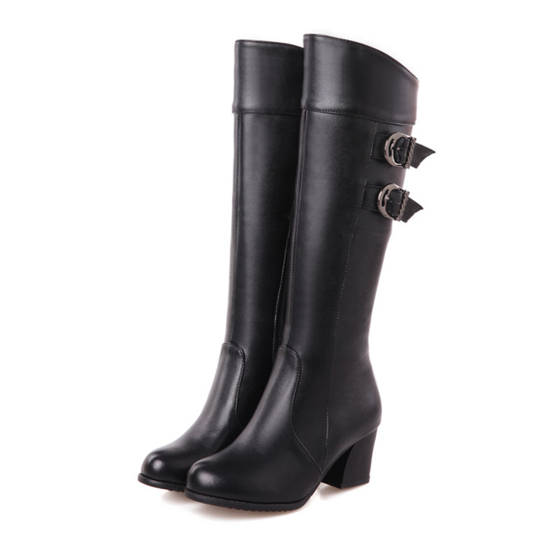 Big size 30-52 New Autumn winter shoes Ladies Knee boots Women fashion botas Hoof heels Zip Solid Glitter Buckle Cool Party Sexy big size 33 43 2016 new style thick heels high quality zip knee boots cozy buckle charm add fur fall winter boots women shoes