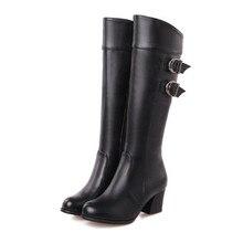Tamaño grande 30-52 Nueva Temporada Otoño invierno zapatos de Las Señoras de La Rodilla botas de Las Mujeres moda botas tacones Hoof Zip Solid Glitter Hebilla Partido Fresco Sexy