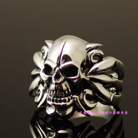 925 чистого серебра изысканный тайский серебряное кольцо черепа