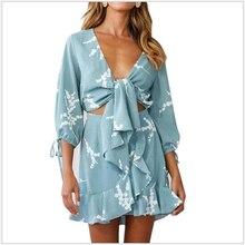 Vestidos 2019 Summer Bohemian Style Sexy Deep V Print Dress Casual half Sleeve I