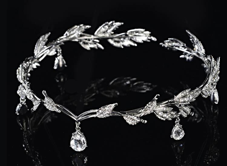 Remedios Elegant Leaf Design Wedding Crown Tiara Hair Jewelry Rhinestone Bridal Bridesmaid Headpiece Headband (1)