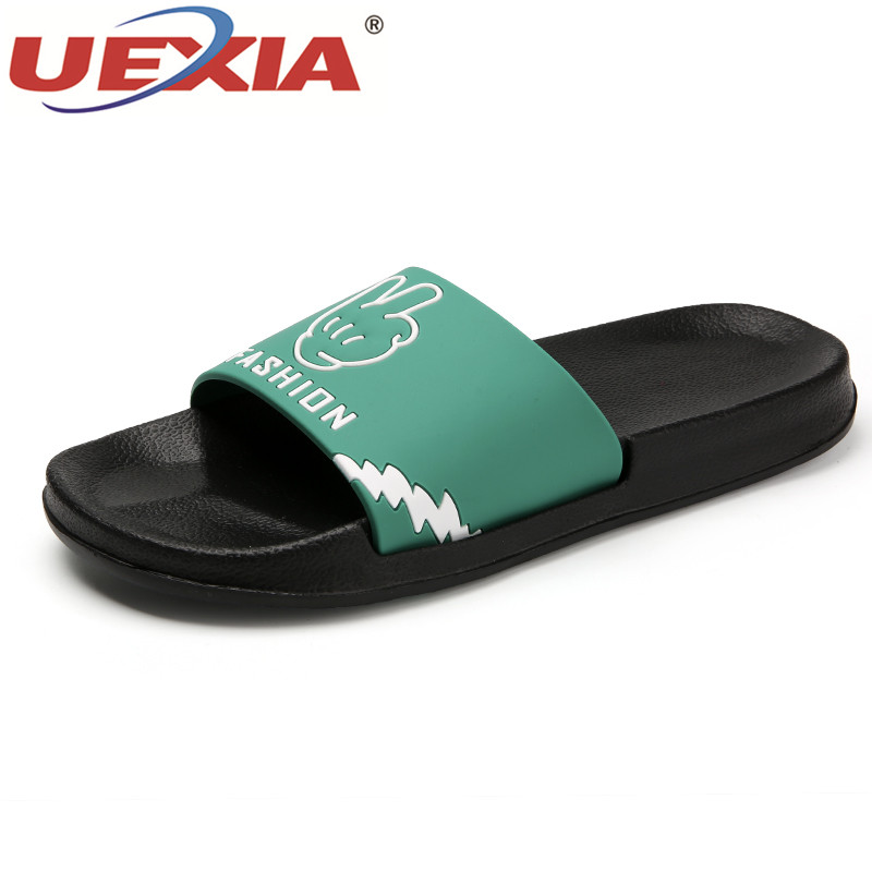 UEXIA Women Shoes 2018 Summer Beach Slippers Casual Bathroom slippers Couple Summer Outdoor Flip Flops Flats Non-slip Breathable uexia 2018 beach slippers breathable summer women flip flops lightweight massage slippers non slide zapatos hombre casual shoe