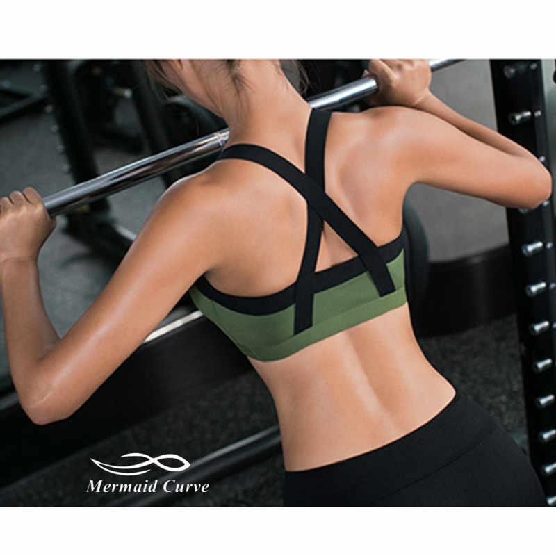 Mermaid منحنى 2017 جديد gym اللياقة اليوغا أعلى الرياضية صدريات النساء رفع الصدرية المرقعة تمرين الجري الرياضية الصدرية مثير للفتيات