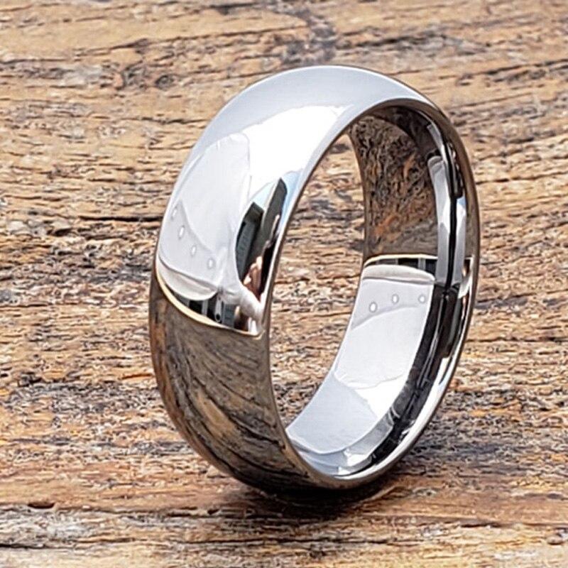 Hypoallergenic Wedding Rings: 8mm Silver Domed Tungsten Carbide Rings Men Women Fashion
