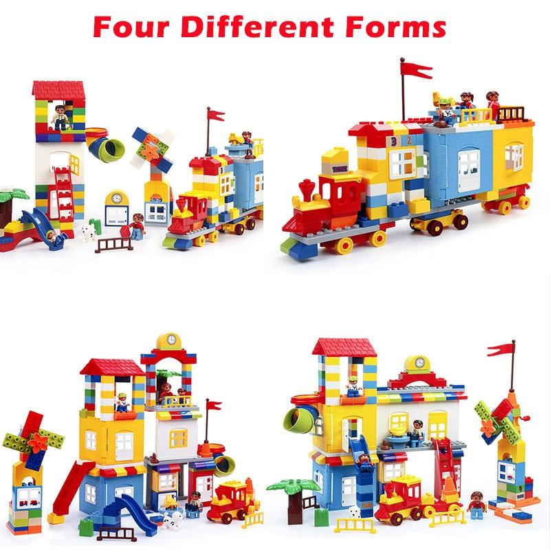 216Pcs DIY Colorful City House หลังคา Big Particle Building Blocks ปราสาทของเล่นสำหรับเด็กใช้งานร่วมกับ Duploe รถไฟสไลด์-ใน บล็อก จาก ของเล่นและงานอดิเรก บน   3