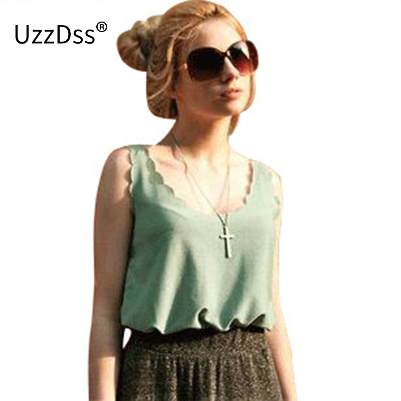 2017 summer crop   tops   halter sexy   tank     tops   women lace Wave edge vest bottoming shirt loose lace camisole