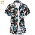 De Gran Tamaño estupendo Algodón Floral Chemise Homme Marca 6XL 7XL clothing slim fit camisa masculina verano hawaiano camisa de los hombres 2017 nueva