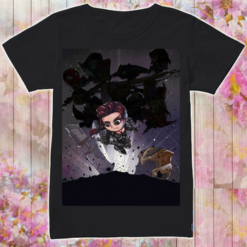 Avenger Endgame Black Widow Chibi T-Shirt Black Cotton All Size Summer Short Sleeves Fashion T Shirt Free Shipping Top Tee