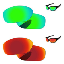 0dbd3de7c2 Fire Red   Emerald Green 2 Pairs Mirror Polarized Replacement Lenses For  Pit Bull Sunglasses Frame