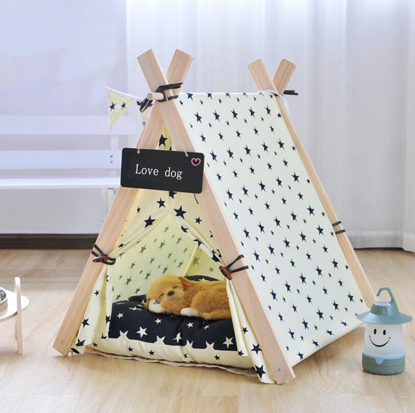 SUFEILE Wooden Pet tent Dog house Stripe Foldable Pet House Tent Wood Kennel Puppy love Dog Cat Bed House with Cushion ped SE15