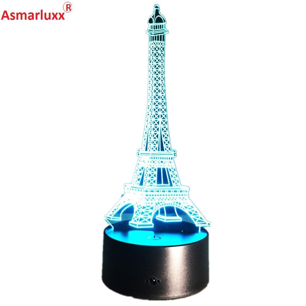 3D LED Illusion USB Lights La Tour Eiffel <font><b>Tower</b></font> Table Lamp with Colorful Flashing Decorations Light LED Desk Lamp Home Deco Gift