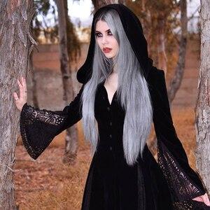 Image 4 - Maxivestido con capucha gótico de noche de brujas Vintage Sexy manga larga de llamarada de encaje Patchwork botón vestido largo cuello en V Empire Vestidos