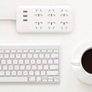 Image 3 - 100% Оригинальный удлинитель XiaoMi для быстрой зарядки, 3 USB с 6 портами, 1,8 м, скрытая сигнальная лампа, штепсельная вилка, адаптер питания