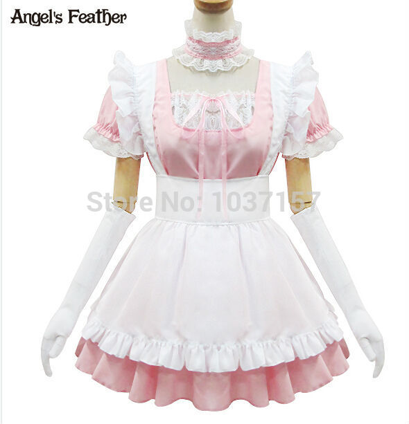 New Free Shipping Anime Cute Pink Maid Dress Outfit Cosplay Costume Uniform