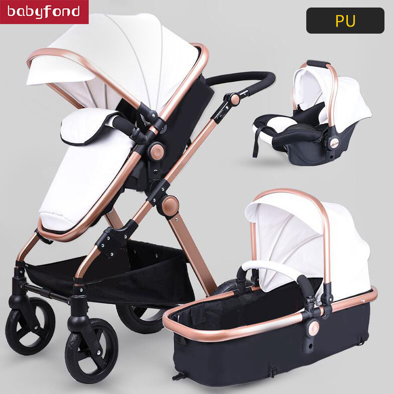 Pu leather aluminum alloy frame  bb Babyfond high  landscape fold  trolley 3 in 1 four wheel cart EU standard baby stroller