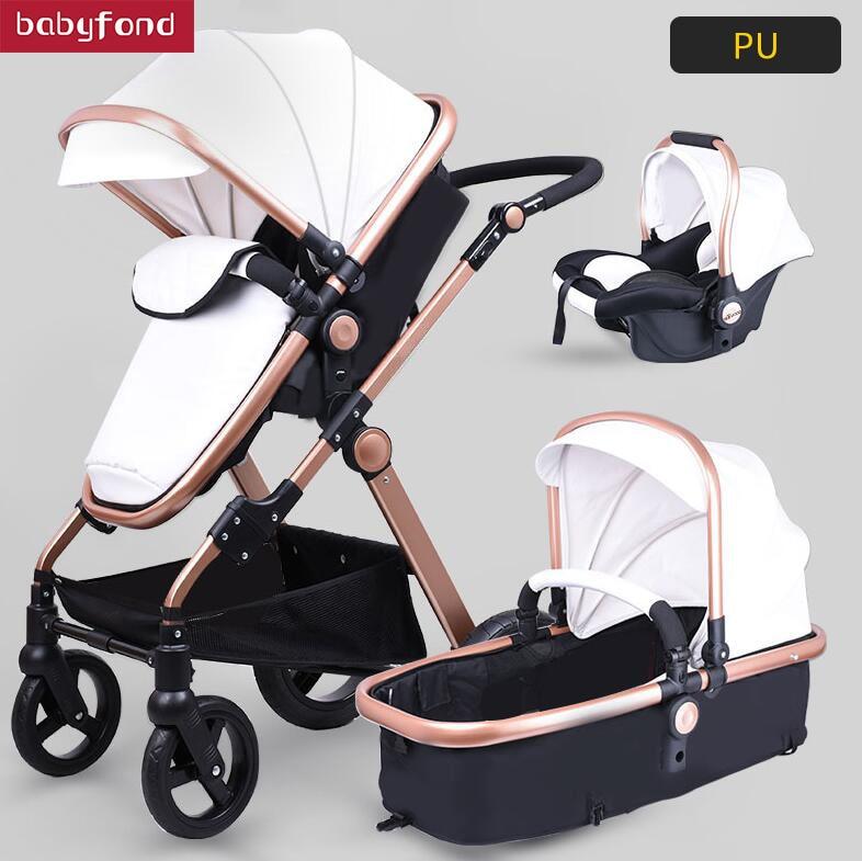 Pu leather aluminum alloy frame bb Babyfond high landscape fold trolley 3 in 1 four wheel cart EU standard baby stroller все цены