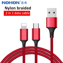 NOHON 2 in 1 USB Data Cable Fast Charging Cord Micro For Samsung Galaxy S7 S6 Lighting Charger 8 Pin iPhone X 7 XS XR