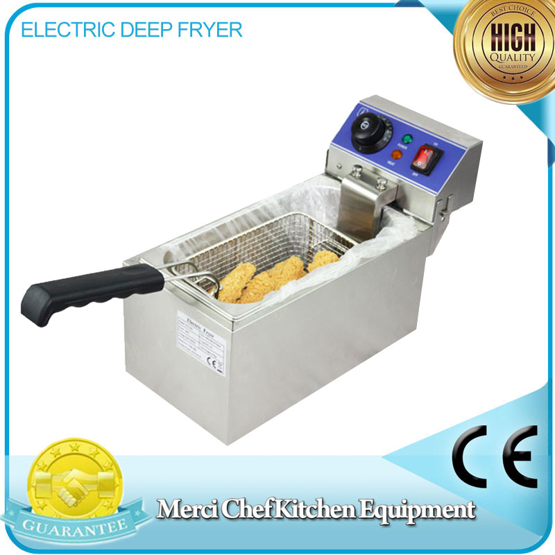 CE Stainless Steel Household and Commercial 6L Electric Deep Fryer Frying Machine household and commerical suit salter air fryer home high capacity multifunction no smoke chicken wings fries machine intelligent electric fryer